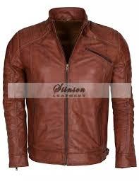 men vintage brown biker leather jacket in uk now