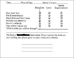 Restaurant Survey Cards Business Research Lab I Really Want To Know Really A Waiter
