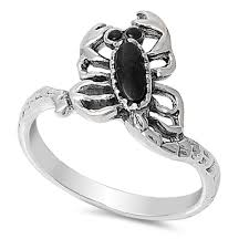 dels about black onyx scorpion evil biker ring 925 sterling silver band sizes 5 9