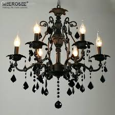 black crystal chandelier lighting whole vintage black crystal chandelier light fixture 6 lights wrought iron chandelier