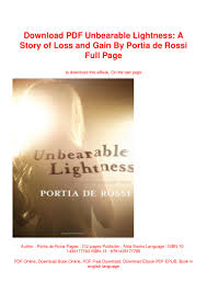 Unbearable Lightness Portia De Rossi Pdf Free Download Pdf Unbearable Lightness A Story Of Loss And Gain