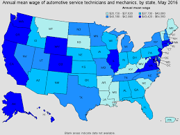 automotive service technicians and mechanics top paying states for this occupation