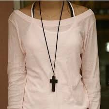 simple brown cross on leather cord necklace 9 99