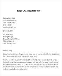 Sample CNA Resignation Letter