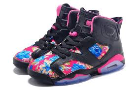 jordan shoes for girls black and pink. air jordan retro 6 floral print black pink girls size for sale-1 shoes and 8