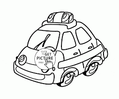 Cartoon Police Car Coloring Page For