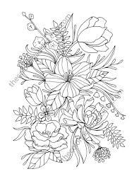 Floral Coloring Page Adult Coloring Page Digital Flower Drawing