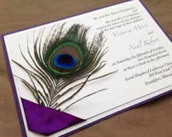 peacock invitations peacock wedding invitations rectangle purple white black lettering