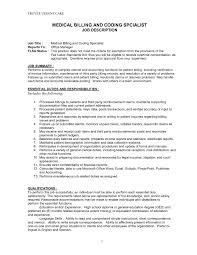 Medical Billing Job Description For Resume