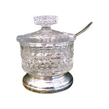 beautiful crystal and silverplate sugar bowl with lid and spoon