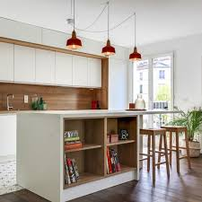 large midcentury modern open concept kitchen appliance inspiration for a large 1950s single wall
