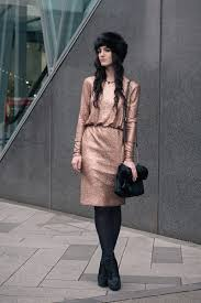 fashion blogger stephanie of faiiint wearing f f at tesco gold foil metallic dress black faux