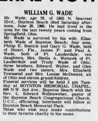 OBIT William G. Wade survived by wife, Elisabeth Wade of Boynton Beach -  Newspapers.com