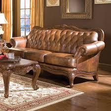 coaster fine furniture victoria victorian brown genuine leather sofa
