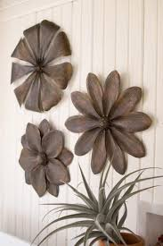 metal flower wall decor set 3 metal