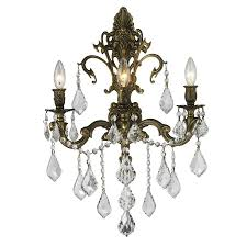 worldwide lighting 17 in w 3 light bronze crystal candle wall sconce