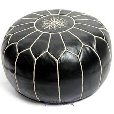 Black And White Pouf Moroccan Leather Pouf Black With White Stitching At Beldinest