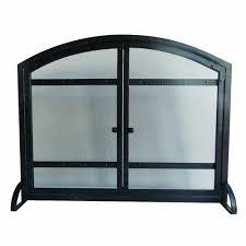pleasant hearth pleasant hearth black powder coat harper 1 panel fireplace screen with doors