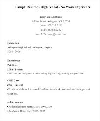 Examples Of Resumes For High School Students With No Experience Unique Work Experience Resume Template Example Limited Examples For