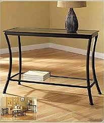 black hall tables narrow. Mendocino Black Console Table, Stylish Bronze Metal \u0026 Glass Sofa Table Narrow Entryway Hall Accent Tables T