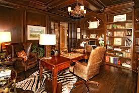 cool home office ideas retro. Retro Luxurious Home Office Decor Ideas With Cool Leather Seating And Wooden Desk Under Chandelier Near Well Turned Bookshelf Plus Zebra Carpet Using Wing C
