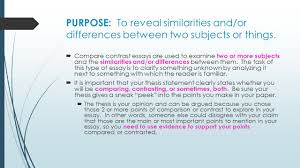 compare and contrast essay writing ppt video online  purpose to reveal similarities and or differences between two subjects or things