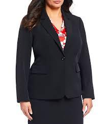 Tahari Outerwear Size Chart Tahari Asl Plus Size Single Button Flap Pocket Jacket