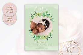 Template For Birth Announcement Birth Announcement Card Adobe Photoshop Psd Template 7