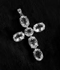 clear quartz crystal cross pendant