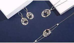 <b>SA SILVERAGE 925</b> Sterling Silver Yellow Gold Color Jewelry Sets ...