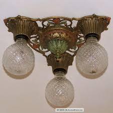 888 vintage 20s 30s ceiling light fixture art nouveau polychrome