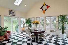 Home Interiors:Modern Sunroom Interior Design With Black And White Square  Tiles Modern Sunroom Interior