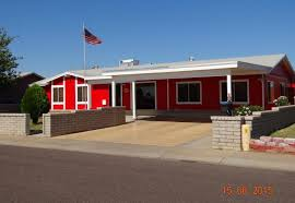 very bright red paint exterior walls curb appeal phoenix arizona home house for real estate