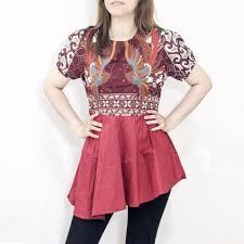 Yang bisa mengenakannya pun bukan hanya perempuan yang berhijab. Fy276 Baju Batik Wanita Lengan Pendek Untuk Kerja Kantoran Motif Kombinasi Bahan Katun Strecth Shopee Indonesia