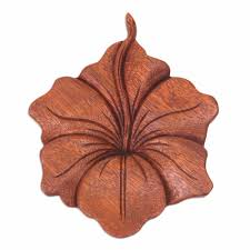 Wood Carved Wall Decor Novica Balinese Hand Carved Hibiscus Flower Wood Relief Panel Wall