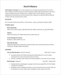 Php Developer Resume Sample Web Developer Resume 10 Examples In Word Pdf