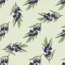 оливковая ветвь с оливками бесшовный фон стоковая векторная