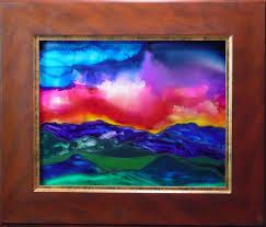 lingering sunset by karla nolan framed glass painting