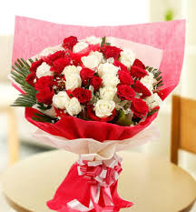Red Paper Flower 20 Red And White Rose Bunch Red Paper Packing