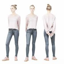 pink top girl in leather pants low poly 3d model