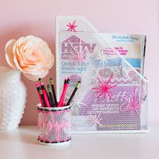 damask office accessories. Yarn Embroidered Desk Accessories With The Container Store | Design Improvised Damask Office