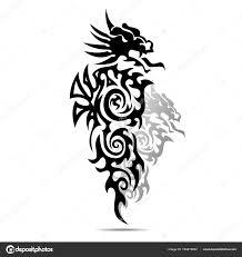 Black Dragon Silhouette Tattoo On White Background векторное