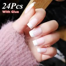 Light Pink Matte Nail Polish Natural French Light Pink False Nail Tips Manicure Tool With Glue Fake Nails