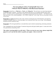 five paragraph essay hurricane katrina what went
