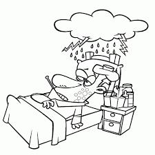 Leuk Voor Kids Met Griep In Bed Inside Ziek Op Bed Kleurplaat