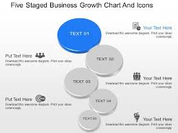 Growth Chart Stencil Designs Ki Five Staged Business Growth Chart And Icons Powerpoint