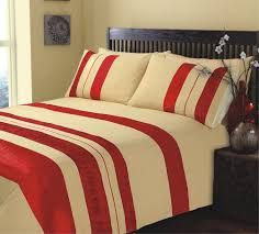 king size ripple and plain stripe red and gold duvet cover bedding set