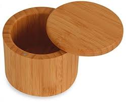 bamboo salt e container box round kitchen dry ing storage containers bb 7404