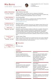 Public Relations Specialist Resume samples