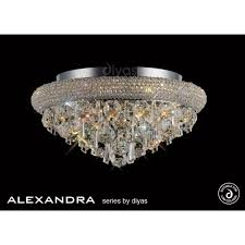 alexandra semi flush 6 light polished chrome and crystal ceiling fitting
